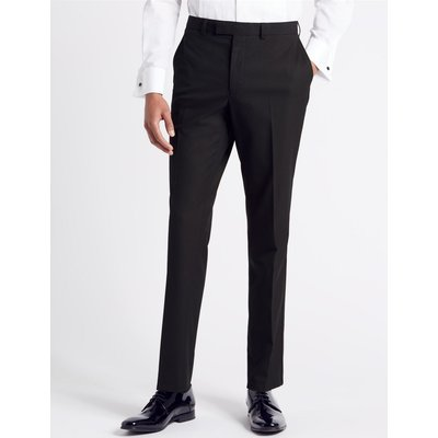 Navy Textured Slim Fit Trousers navy