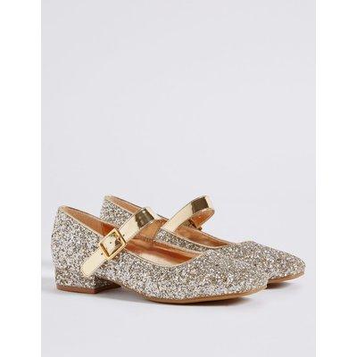Kids' Buckle Glitter Cross Bar Shoes gold