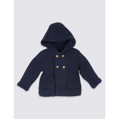 Pure Cotton Hooded Cardigan navy