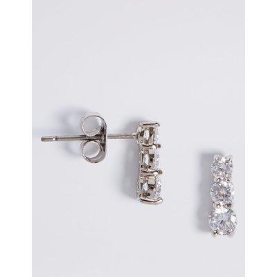 M&S Collection Platinum Plated Triple Diamanté Drop Earrings, White Mix
