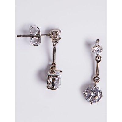 M&S Collection Platinum Plated Stick Diamanté Drop Earrings, White Mix