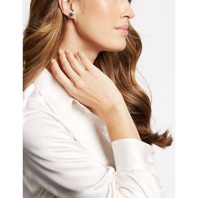 M&S Collection Circle Stone Diamanté Stud Earrings, Black Mix