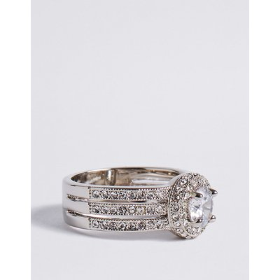 M&S Collection Platinum Plated Millgrain Eternity Diamanté Ring, Silver Mix