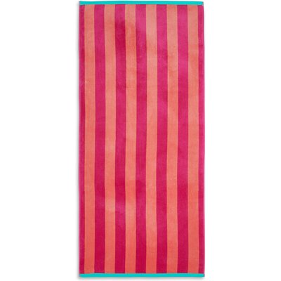 Velour Wide Stripe Beach Towel, Pink Mix
