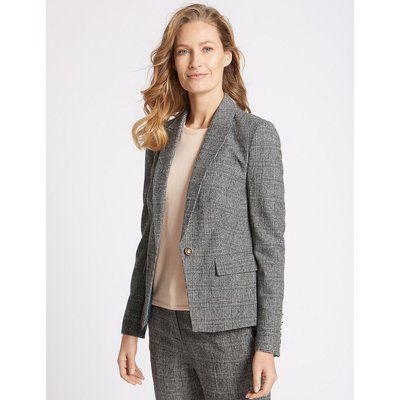 Classic Checked Grosgrain Blazer, Grey Mix