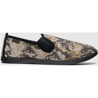Blowfish Black & Brown Gadget Flat Shoes