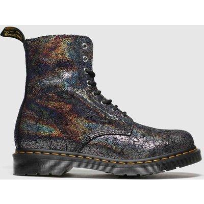 Dr Martens Grey 8 Eye Iridescent Crackle Boots