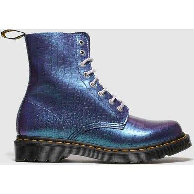 Dr Martens Blue 8 Eye Iridescent Croc Boots