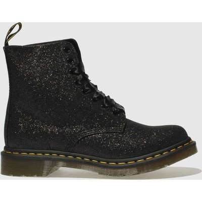 Dr Martens Black & Silver Pascal 8 Eye Glitter Boots
