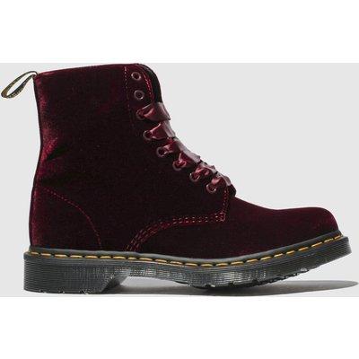 Dr Martens Burgundy 1460 Pascal Velvet Boots