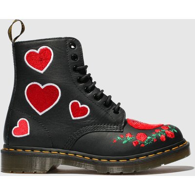 Dr Martens Black & Red 1460 Pascal Hearts Boots