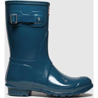 Hunter Navy Original Short Gloss Boots
