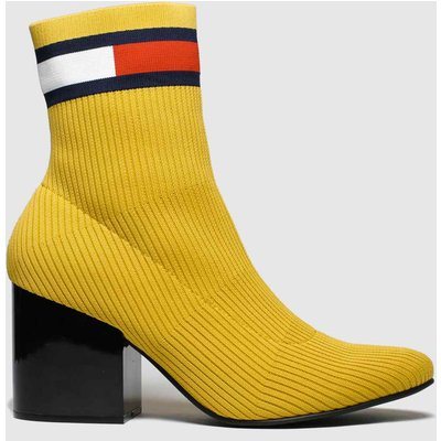 Tommy Hilfiger Yellow Flag Sock Mid Heel Boots