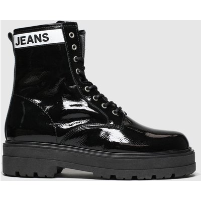 Tommy Hilfiger Black Patent Leather Flatform Boots