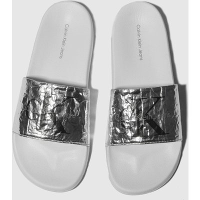 Calvin Klein Silver Jeans Chantal Metallic Crinkle Sandals