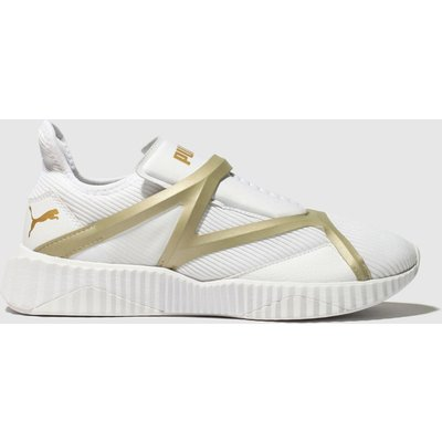 Puma White & Gold Defy Cage Trainers