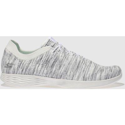 Skechers White & Grey You Devine Trainers