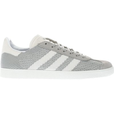 adidas light grey gazelle prime knit trainers - 4058025549222