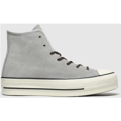 Converse Light Grey All Star Lift Sherpa Hi Trainers