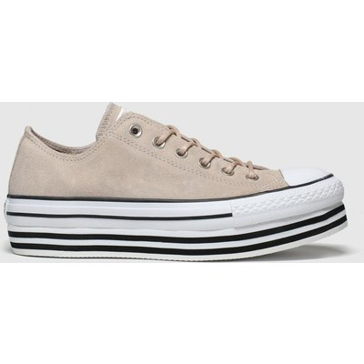 Converse Nude All Star Layer Bottom Ox Trainers