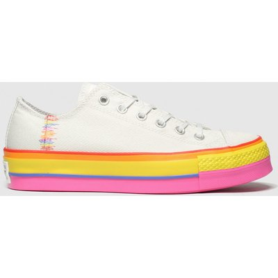 Converse Beige & Orange All Star Lift Rainbow Ox Trainers