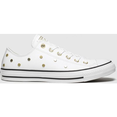 Converse White & Gold All Star Stud Ox Trainers