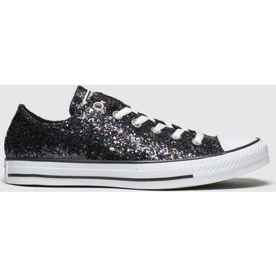 Converse Black & Purple All Star Glitter Ox Trainers