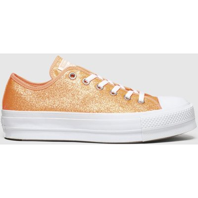Converse Orange Clean Lift Neon Platform Trainers