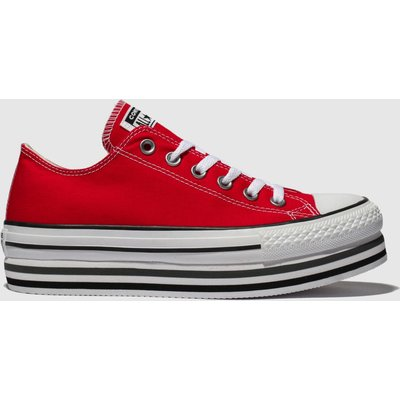 Converse Red All Star Platform Layer Ox Trainers