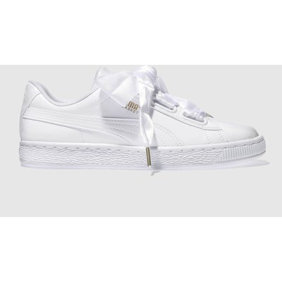 puma white basket heart patent trainers - 5054457793836