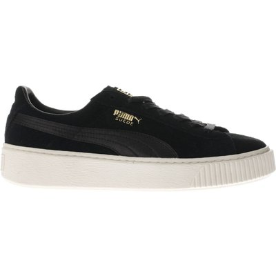 puma black   white suede platform satin trainers - 5054457891969