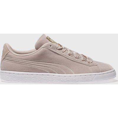 puma pale pink basket velour trainers - 5054458005129
