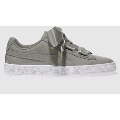 puma grey basket heart patent trainers - 5054458113602