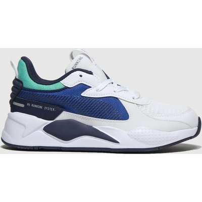 Puma White & Navy Rs-x Hard Drive Trainers Junior