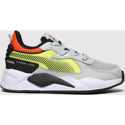 Puma Grey & Yellow Rs-x Hard Drive Trainers Junior