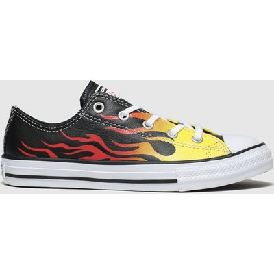 Converse Black & Orange All Star Lo Flame Trainers Junior