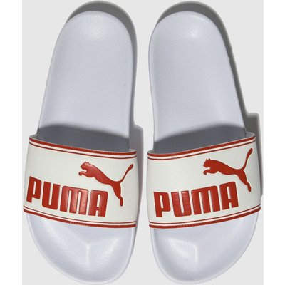 Puma White & Red Leadcat Sandals Youth
