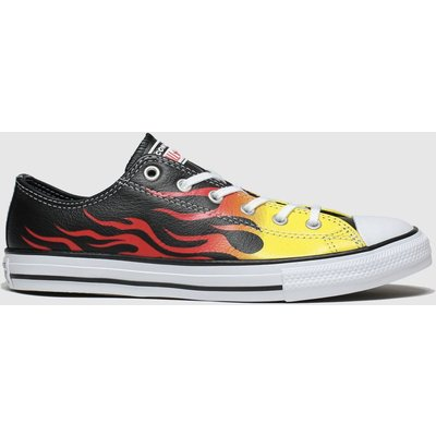 Converse Black & Orange All Star Lo Flame Trainers Youth