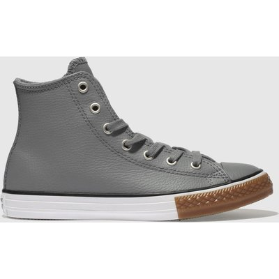 Converse Grey All Star Hi Leather Trainers Youth