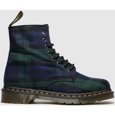 Dr Martens Navy & Green 8 Eye Tartan Canvas Boots