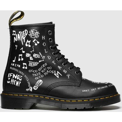 Dr Martens Black & White 1460 Scribble 8 Eye Boots