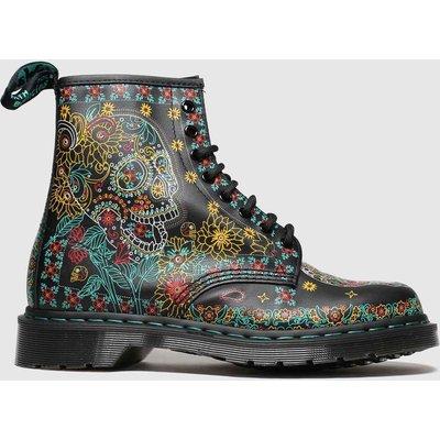 Dr Martens Black & Yellow 1460 Skull Boots