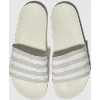 Adidas White & Grey Adilette Sandals