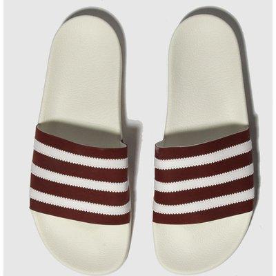 Adidas White & Burgundy Adilette Sandals
