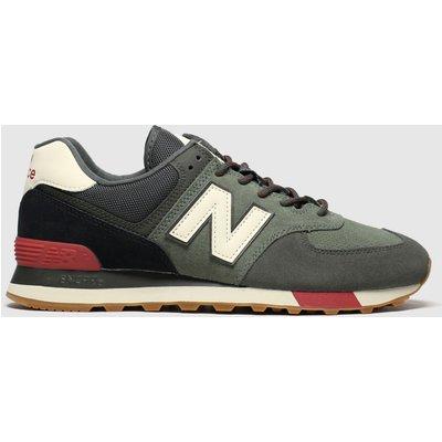 New Balance Black & Green 574 Trainers