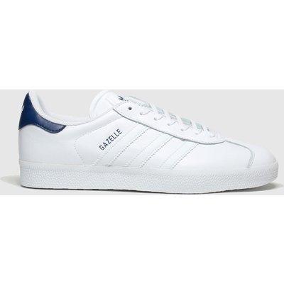 Adidas White & Navy Gazelle Trainers
