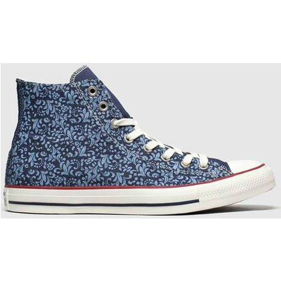Converse Navy Hi Floral Trainers