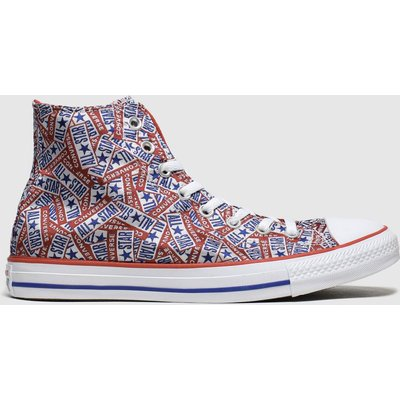 Converse White & Red Hi Logo Trainers