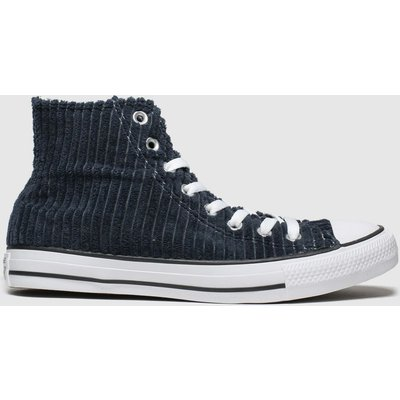 Converse Navy All Star Wide Wale Cord Hi Trainers