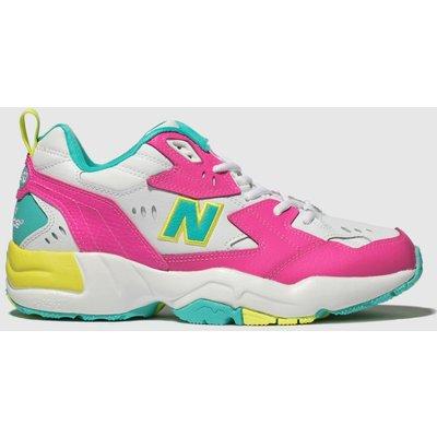 New Balance White & Pink 608 Trainers